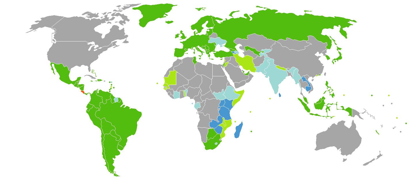 Requerimientos de visa para ciudadanos de Costa Rica