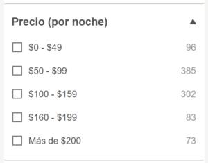 Filtro de precio en HotelsCombined
