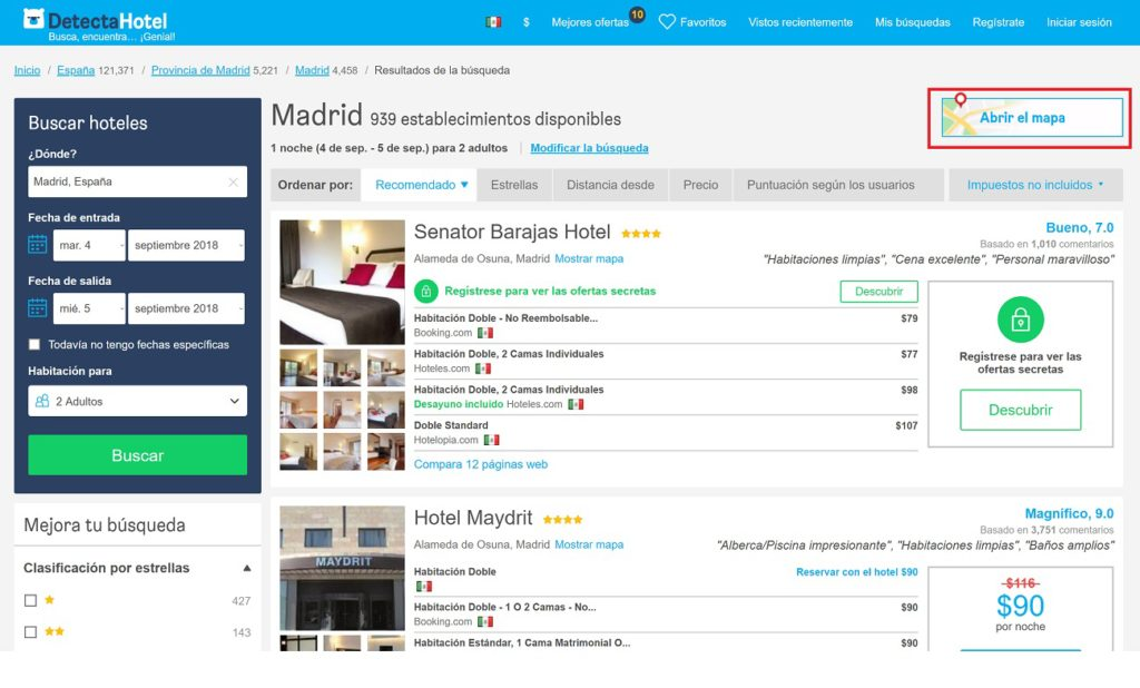 Vista en mapa en HotelsCombined