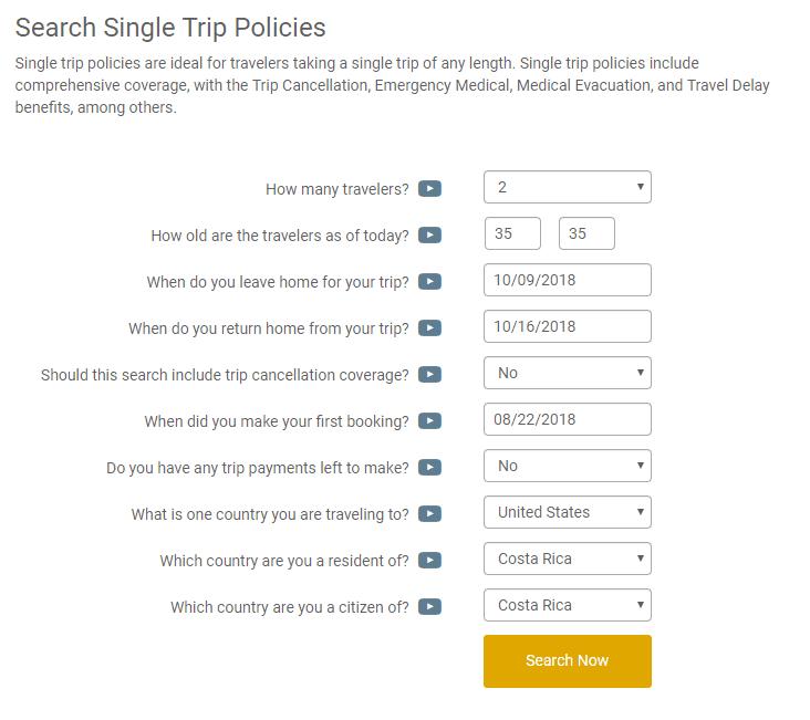 Formulario de búsqueda de seguro de viajes